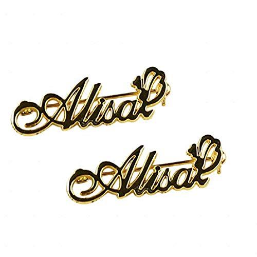 Godmoy Pin de Broche de Nombre Personalizado Broches de Nombre Personalizado Pin de Collar de Hebilla Camisa de Traje con Cualquier Nombre para Mujeres Niñas Regalo de joyería Inicial