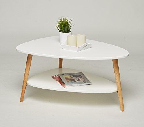 MO Living Tavolino da salotto bianco naturale con gambe in legno 90 x 67 x 45 cm look retrò tavolino scandinavo, nuovo