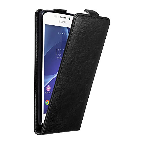 Cadorabo Hülle für Sony Xperia M2 / M2 Aqua in Nacht SCHWARZ - Handyhülle im Flip Design mit Magnetverschluss - Case Cover Schutzhülle Etui Tasche Book Klapp Style