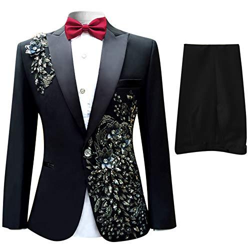 Abiti da Uomo 2 Pezzi Suit Blazer Show Party Jacket Coat Notch Bavaglino Allover Wedding Concerto Brithday Party Bling Blazer Abiti da Festa Smoking