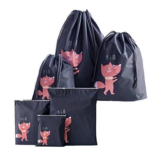 Abaría - Organizadores para Maletas 6 Piezas (3 zippa Bag + 3 Bolsa de Cuerda), Bolsos Esenciales del Bolso-en-Bolso - Cubos de Embalaje - Bolso de los Zapatos - Neceser Organizador para cosméticos