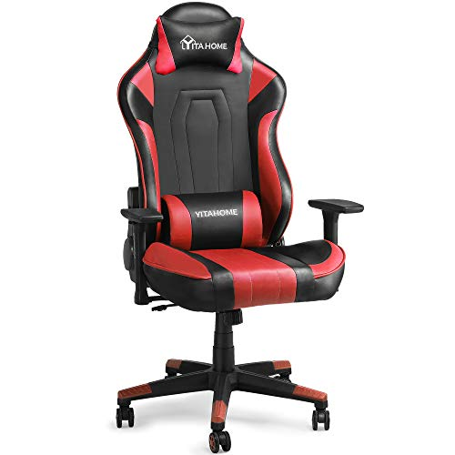 YITAHOME Massage Gaming Chair Big and Tall Heavy Duty 350lbs Ergonomic Video Game Chair High Back Office Computer Chair Racing Style with Headrest and Lumbar Support,Red