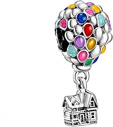 MsRosy Globos de colores y colgante de casa en plata de ley 925 maciza con sello y esmalte de colores, compatible con todas las pulseras y collares de estilo europeo
