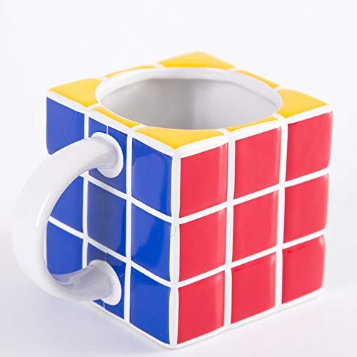 Doinbtoy Bone China Milk Coffee Mug Taza de cerámica Creativa con Forma de Cubo de Rubik 301-400ml Blanco