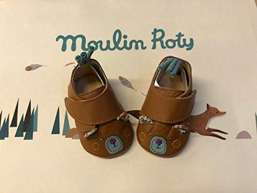 Moulin Roty Chaussons Cuir Ours brun Les Jolis trop Beaux 0/6 m