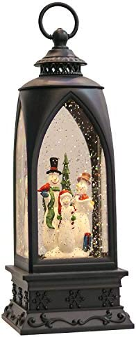 Eldnacele 12 Christmas Snow Globe Lantern Snowman with Music Timer USB Lined Battery Operated product image