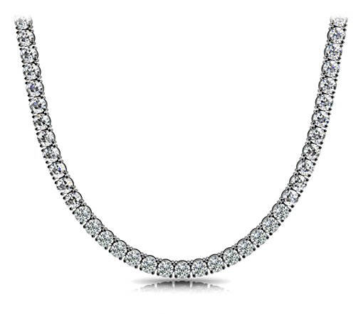 """Pori Jewelers Unisex Sterling Silver 4mm Cubic Zirconia Tennis Necklace Available in 16""""-36"""""""