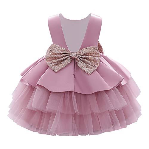 IMEKIS Kind Baby Mädchen Geburtstagskleid Ärmellose Pailletten Bowknot Tüll Tutu Prinzessin Hochzeitsfeier Taufkleid Festzug Ballkleid Rosa 5-6 Jahre