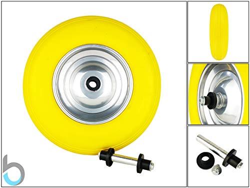 Massief rubber Kruiwagen Wiel PU 4.80/4.00-8 Diameter 390 mm met Asset