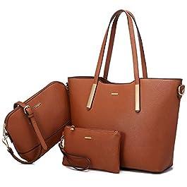 LOVEVOOK sac a main femmes chic sac bandoulière amovible PU Cuir portefeuille femme cadeau anniversaire sac à main femmes les cours lycee 3 pcs