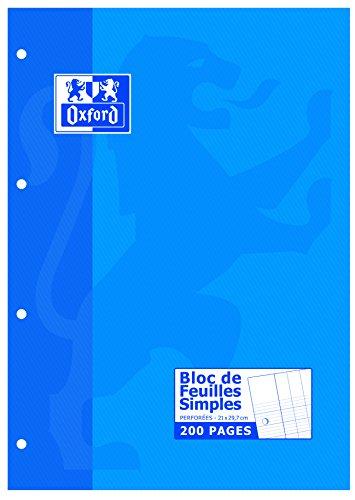 Oxford Bloc de Feuillets Mobiles Perforés Copie Simple A4 (21 x 29,7cm) 200 Pages Grands Carreaux Seyès Blanc