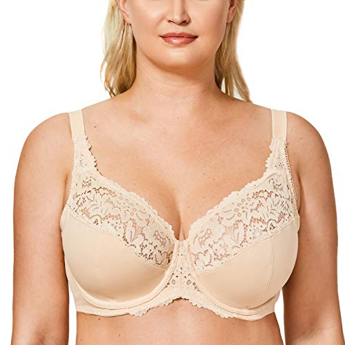 DELIMIRA Women's Plus Size Full Coverage Underwire Unlined Cotton Lace Bra Beige 46F