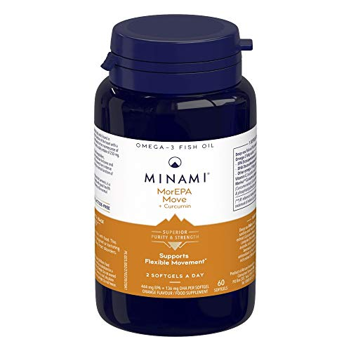 Minami - MorEPA Move Plus Curcumin - Omega 3 Fish Oil - High EPA & DHA Formula + Curcumin and Vitamin C to Support Flexible Movement for Joints and Muscles - 60 Softgels