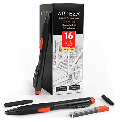 Arteza HB Mechanical Pencil Pack of 16 with 0.7 Millimeter Medium Point Lead, 48 Refills and Replaceable Eraser with 8 Extra Erasers, Latex-Free Grip