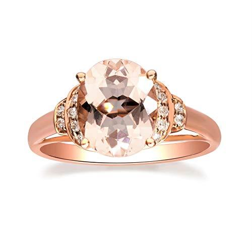 Gin & Grace De oro rosa de 10K 2.5 Ct. Natural Morganita y diamante (I1, I2) (Tamaño 9) Proponer la promesa de compromiso anillo para las mujeres