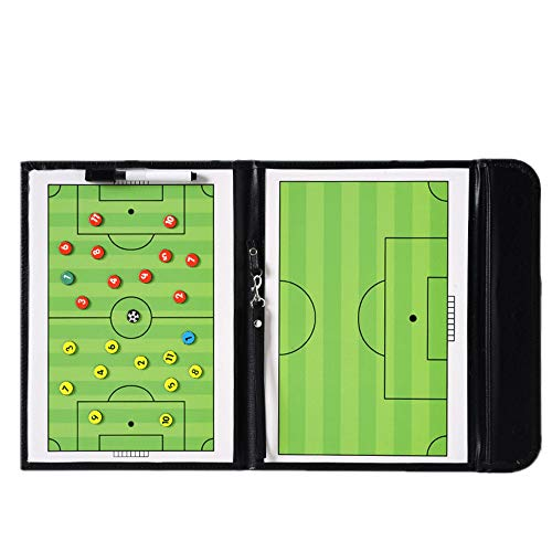 LHIABNN Foldable Leather Football Soccer Magnetic Tactic Marker Coaching Clipboard with Zipper and Marker Pen - Coaching Strategy Guiding Board Kit Equipment Portable Coach Tool (Soccer)