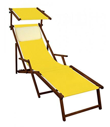 Erst-Holz Sedia a Sdraio Gialla da Spiaggia in Faggio con Parasole poggiapiedi Cuscino Beige 10-302FSKH