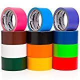 Craftzilla Colored Duct Tape - Variety Pack -12 Colors - 10 Yards x 2 inch Rolls. Girls and Boys Kids Craft Set, Fun DIY Art Kit – Rainbow: Black Red Orange White Green Yellow Pink Blue Brown Purple