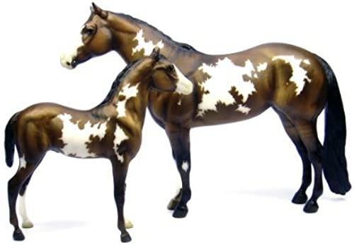 Breyer Overo Paint Mare and Foal - Traditional Toy Horse Model by Breyer