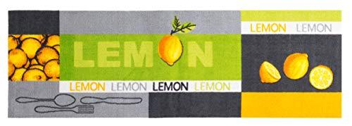 andiamo Kurzflor Läufer Lemon aus 100% Polyamid Küchenläufer mit Zitronen Muster, gelb grün 50 x 150 cm