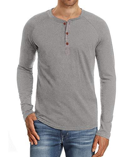 Camiseta de Manga Larga para Hombre Regular Camisa Ocio Color Sólido La Moda Blusa Superior Retro Henley Camisas 2019 Nuevo 10 Colores