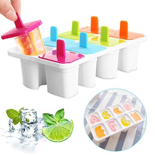 Eisformen Eis am Stiel, 8 Eisform Kinder, Klein Eisförmchen Popsicle Formen, Stieleisformer Eislutscher Formen, Mini Buchstabe Eisform für Kinder, Baby, BPA frei