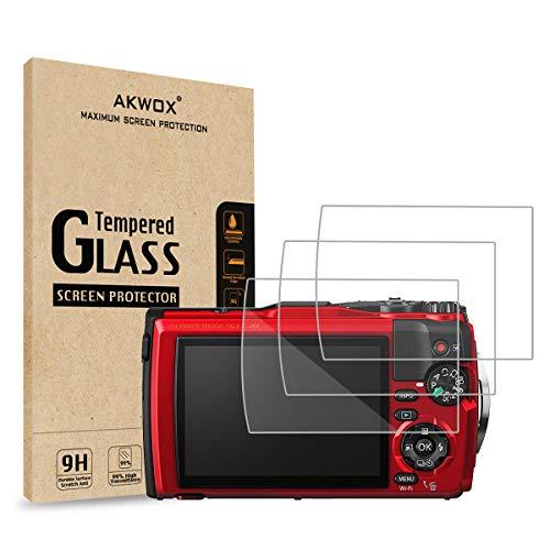 AKWOX [3 Unidades Protector de Pantalla para Olympus Tough TG-5 TG-4 TG-3 [9H Dureza] Cristal Vidrio Templado para Olympus Tough TG-5 TG-4 TG-3 Cristal Templado