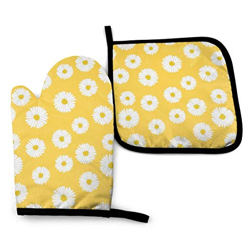 Daisy Oven Mitts Extreme Heat Resistant Soft Cotton Lining Pot Holder Oven Gloves Set for Kitchen BBQ