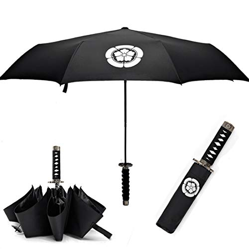 Cool Lemon Samurai Katana Master Sword Hilt Handle Folding Umbrella Anime Portable Travel Japanese Ninja Compact Umbrellas Windproof, Black Glue Anti UV, Business Birthday Gift for Men