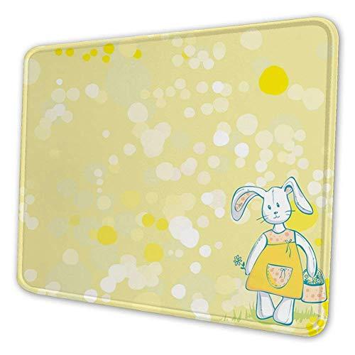 Rechthoekige Mousemat Mousepad, zomerse kleuren en schattig speelgoed Bunny met bloem mand Cartoon tekening stijl