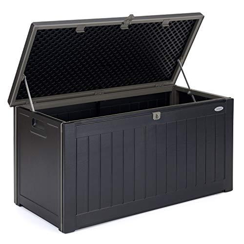 CHRISTOW Waterproof Garden Storage Box With Lockable Lid, Plastic Wood Effect Outdoor Storage Box, Aluminium Hinges, 190L