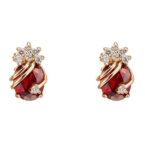 Yazilind Pendientes de oro elegante 18K plateó el circonio cúbico multicolor para la Mujer rojo