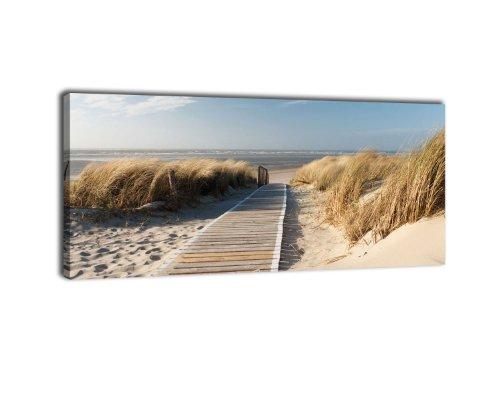 wandmotiv24 Leinwandbild Panorama Nr. 337 Nordseestrand 100x40cm, Keilrahmenbild, Bild auf Leinwand, Düne Himmel Sand