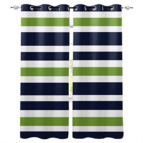 Kitchen Blackout Curtains Panels Window Treatments for Living Room Bedroom Insulated Grommet Window Curtains and Drapes,Navy Blue, Lime Green and White Stripe 2 Panels 40x63 Inch
