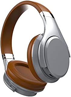 Wireless Bluetooth Headphones Stereo Deep Bass Noise Cancelling Earphone Foldable Adjustable Gaming Earphones with Mic for PC/Cell Phones/TV,Brown