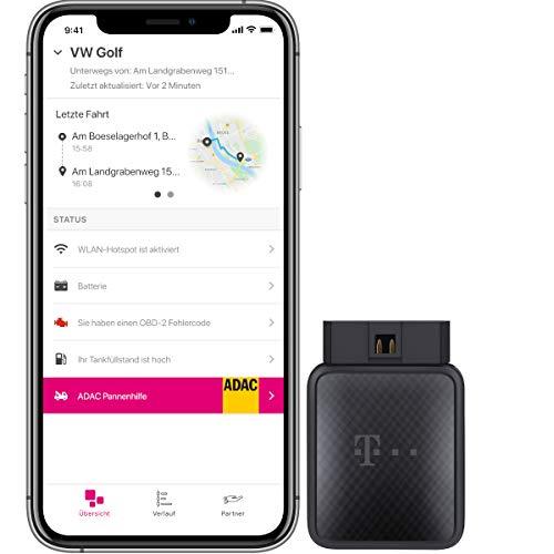 Telekom CarConnect Adapter inkl. 12 Monate Internet-Tarif mit insgesamt 60 GB LTE Datenvolumen, OBD2 Stecker mit WLAN und GPS