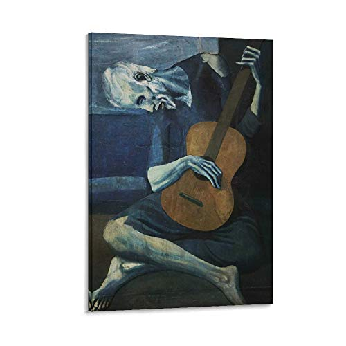The Old Guitarist by Pablo Picasso Poster Print 1903 - Laminated - Old Man with Guitar Wall Art Poster dekorative Malerei Leinwand Wandkunst Wohnzimmer Poster Schlafzimmer Malerei 12x18inch(30x45cm)