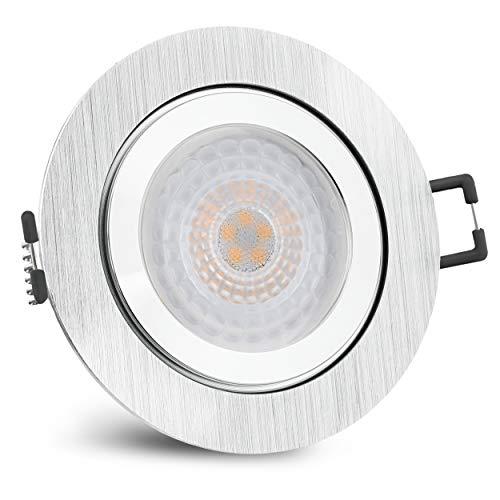 SSC-LUXon RW-2 - Foco LED empotrable plano (IP44, con regulador de intensidad sin regulador, 5 W, luz blanca cálida, redondo, aluminio cepillado)