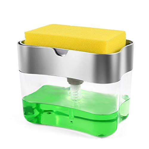 Dispensador de Bomba de jabonera 2 en 1 con Soporte de Esponja Contenedor de dispensador de líquido Presión de Mano Organizador de jabón Organizador de Cocina Limpiador de Herramientas