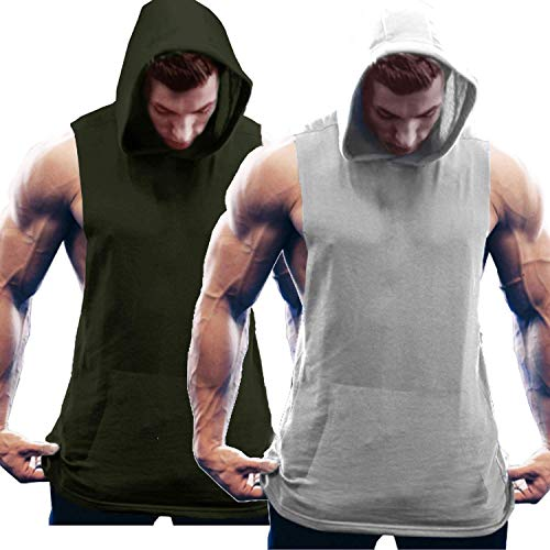 COOFANDY Herren Tank Top Kapuze Fitness Hoodie 2er Pack Quick Dry Gym Shirt Bodybuilding Ärmelloser t-Shirt