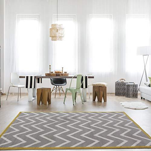 The Rug House Milan Alfombra para Sala de Estar con Diseño Moderno Chevron Gris Beige Ocre 120cm x 170cm