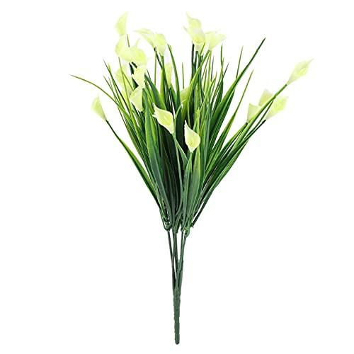 Folha Artificial, Plástico Artificial Calla Lily Folhas Falsas Flores Planta Buquê Decoração para Casa Plantas Flores artificiais(white, 12)