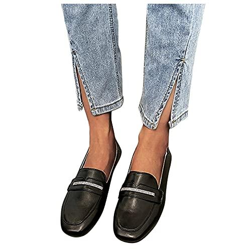Beudylihy Zapatos clásicos para mujer, con cordones de corte bajo, antideslizantes, tacón bajo, transpirables, ligeros, de piel, estilo británico, color Negro, talla 40 EU