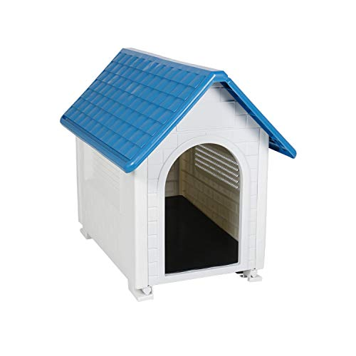 LAZZO Plastic Dog House, Cute Pet Dog Puppy Shelter, Waterproof Ventilate Pet Dog Kennel with Air Vents and Elevated Floor for All Weather Indoor Outdoor Use (Blue)