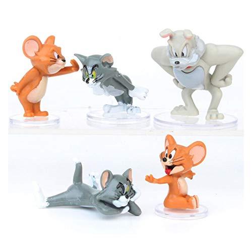 DONGMAISM Action Figure 5pcs / Set Cartoon Tom & Jerry Cat e Mouse Mini PVC Action Figures Toy Model Doll Decoration per Bambini Regalo Modello di Bambola (Color : 1Set)