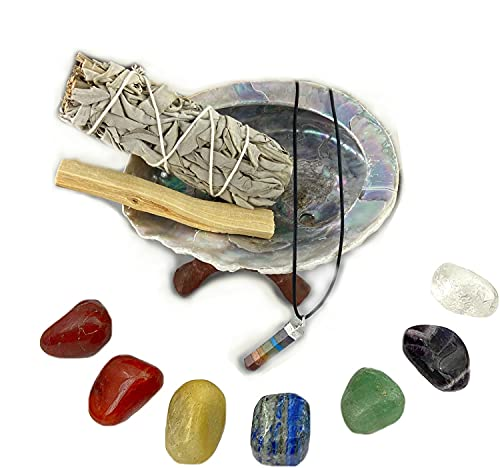 Chakra Stone Set with 7 Crystals, Sage, Abalone Shell, Wood Stand, & Palo Santo Smudge Stick for Spiritual Healing Crystal, Smudging Kit