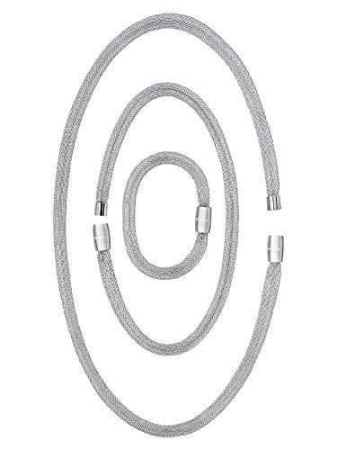 BREIL - Soft Set, Bracciale, Girocollo e Collana Donna Collezione MAGNETICA SYSTEM - 3 Elementi di Diverse Lunghezze Trasformabili in Maglia d'Acciaio Silver - Abbinabili ad Altri Elementi Magnetica