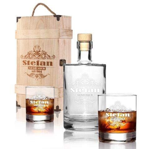 FORYOU24 Premium Whiskeybox 2 Leonardo Whiskeygläser und Whiskeykaraffe mit Gravur Tribal I Whisky-Set graviert in Holzkiste