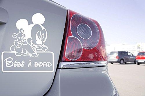 Zone-Stickers Sticker Bébé à Bord Mini Mikey Walt Disney - 18cm x 20cm, Blanc