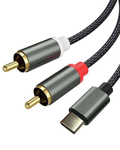 Froggen Cable Adaptador RCA Jack Type C, Cable de audio USB tipo C a 2 RCA tipo C RCA cable 2RCA Jack USB-C para Móvil, Amplificador, Altavoz, TV, DVD 1.1 Metros